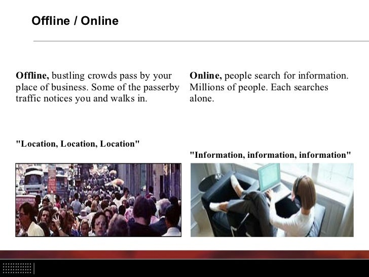 Offline / OnlineOffline, bustling crowds pass by your     Online, people search for information.place of business. Some of...