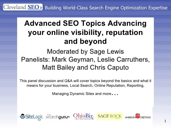 Building World-Class Search Engine Optimization Expertise Advanced SEO Topics Advancing your online visibility, reputation...