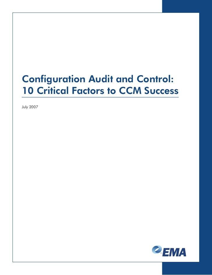 Configuration Audit and Control: 10 Critical Factors to CCM Success