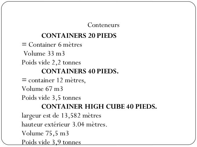Emballage - Volume conteneur maritime ...