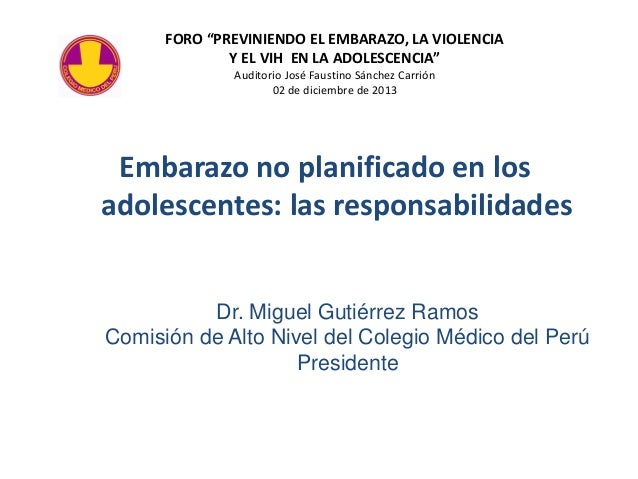 """FORO """"PREVINIENDO EL EMBARAZO, LA VIOLENCIA Y EL VIH EN LA ADOLESCENCIA"""" Auditorio José Faustino Sánchez Carrión 02 de dic..."""