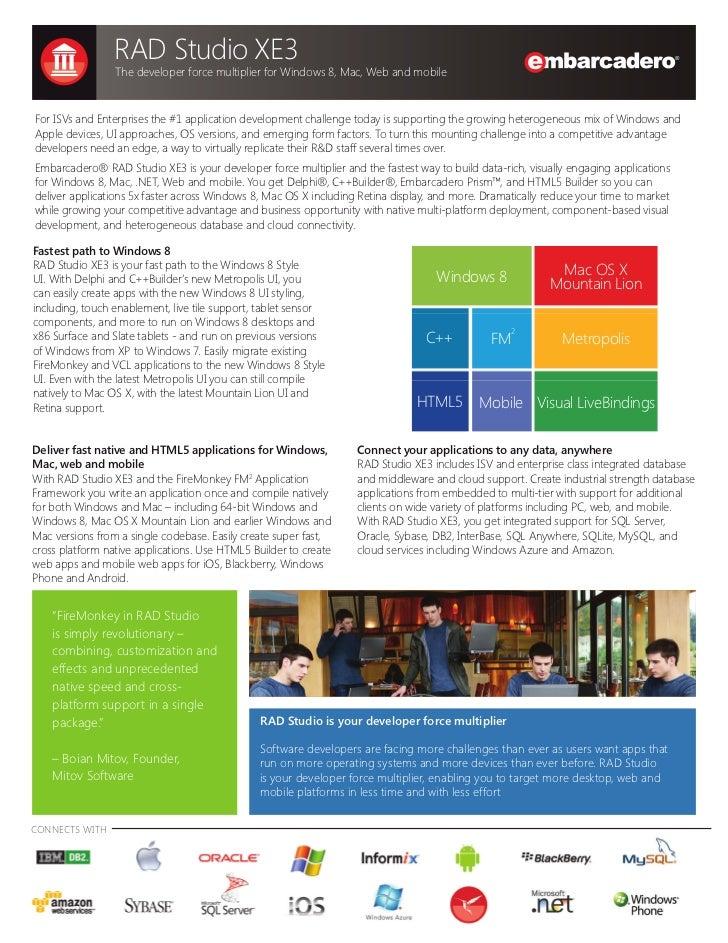 Embarcadero RAD Studio XE3 datasheet