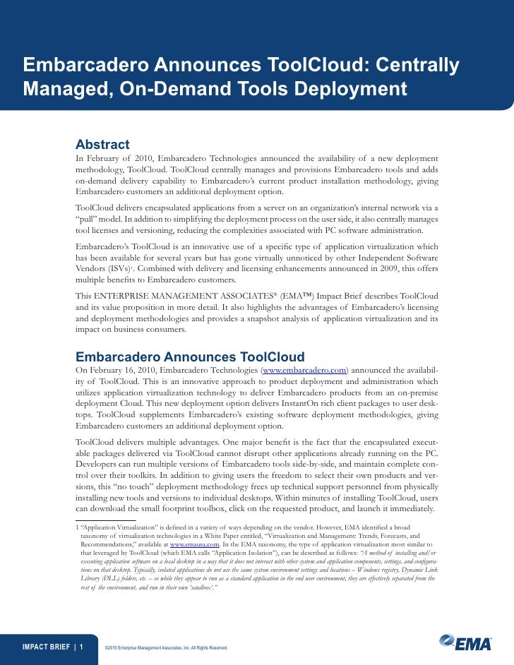 Embarcadero Announces ToolCloud: Centrally Managed, On-Demand Tools Deployment               Abstract              In Febr...