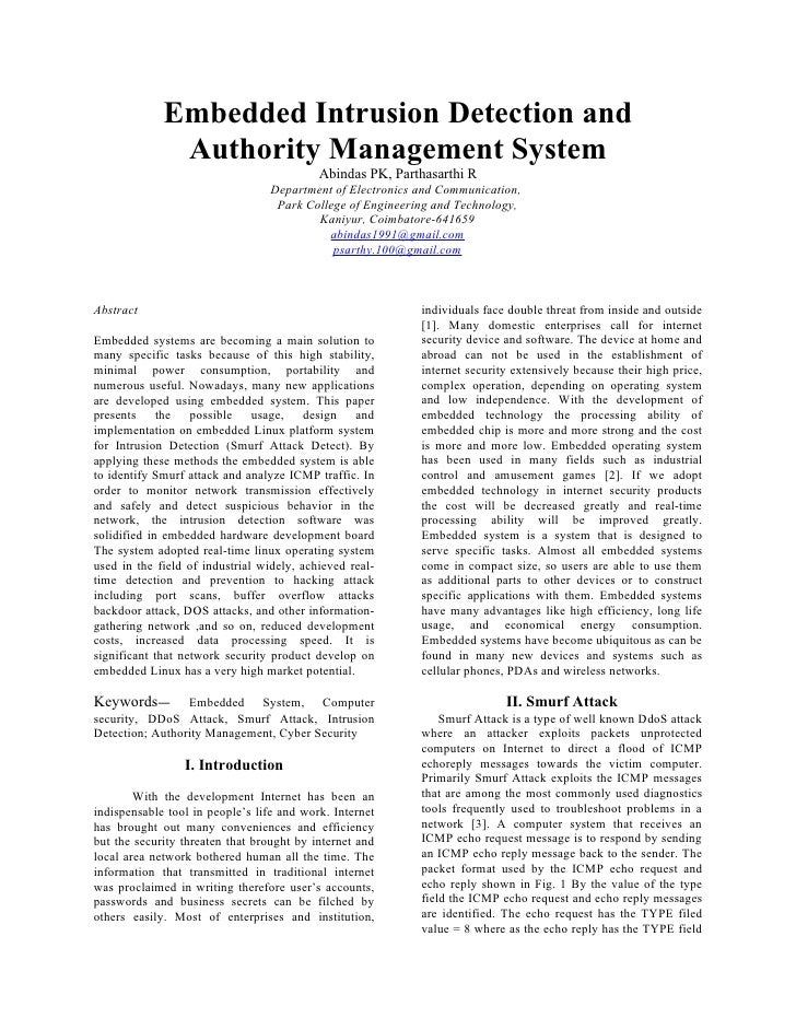Embedded Intrusion Detection and              Authority Management System                                           Abinda...