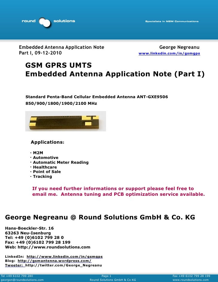 Embedded Antenna Application Note                                           George Negreanu           Part I, 09-12-2010  ...