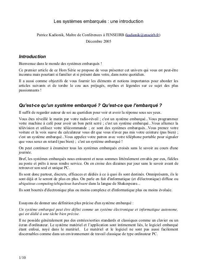 Les systèmes embarqués : une introduction           Patrice Kadionik, Maître de Conférences à lENSEIRB (kadionik@enseirb.f...