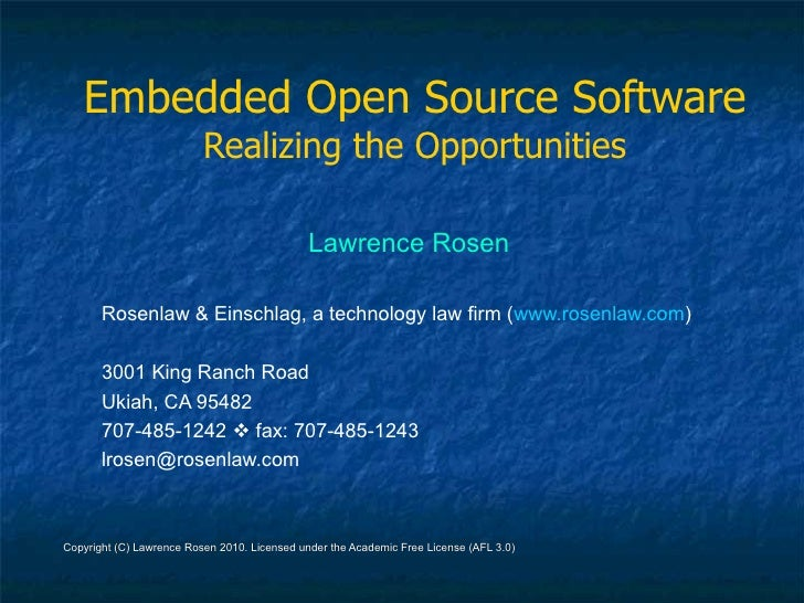 Embedded Open Source Software                           Realizing the Opportunities                                       ...