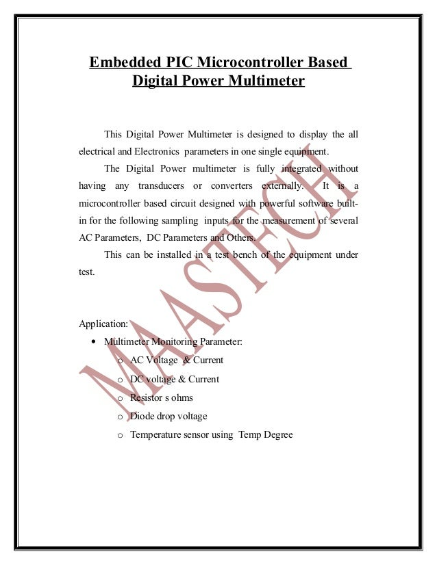 ELECTRICAL PROJECT ABSTRACT FOR EEE-Embedded pic microcontroller based   digital power multimeter