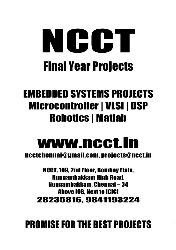 Embedded Project Titles, 2009   2010  Ncct Final Year Projects