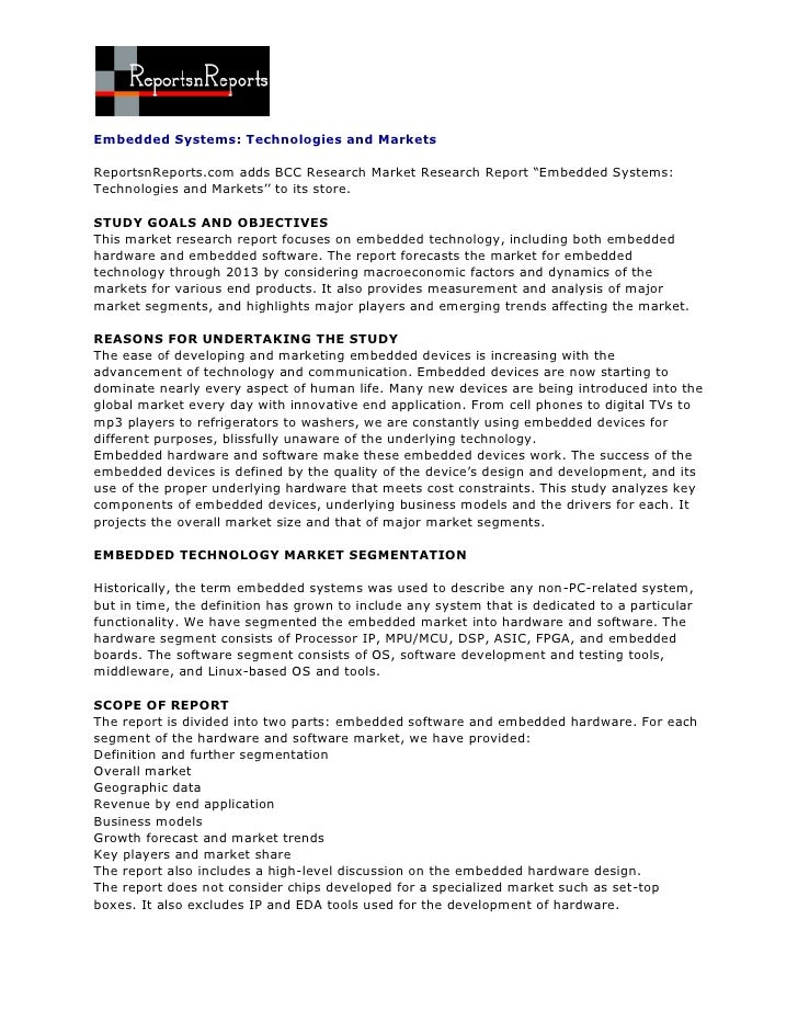"Embedded Systems: Technologies and MarketsReportsnReports.com adds BCC Research Market Research Report ""Embedded Systems:T..."