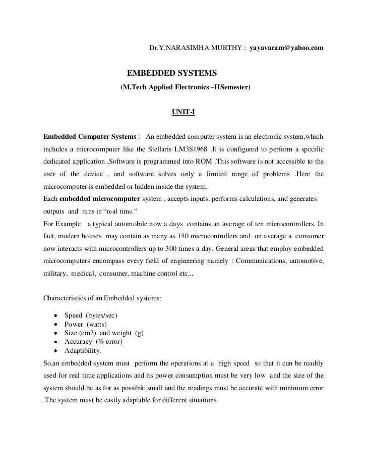 Dr.Y.NARASIMHA MURTHY : yayavaram@yahoo.com                             EMBEDDED SYSTEMS                           (M.Tech...