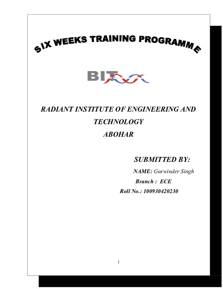RADIANT INSTITUTE OF ENGINEERING AND            TECHNOLOGY              ABOHAR                          SUBMITTED BY:     ...