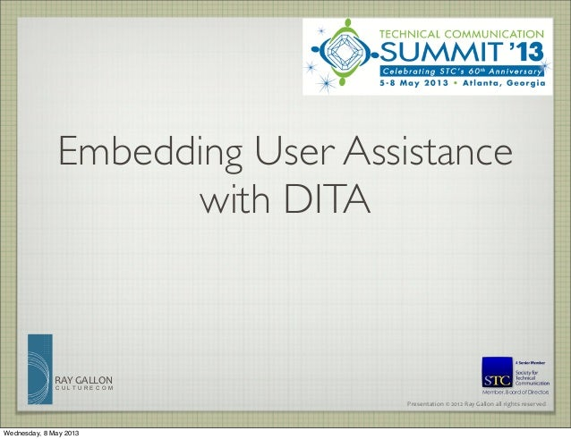 Embedded User Assistance Using DITA