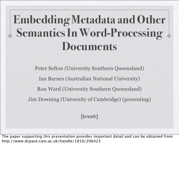 Embedding Metadata In Word Processing Documents