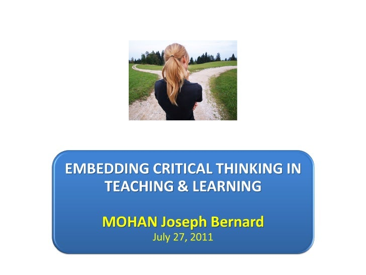 teaching for critical thinking in physical education Information and resources for various teaching styles used in physical education teaching styles in physical education the use of critical thinking.