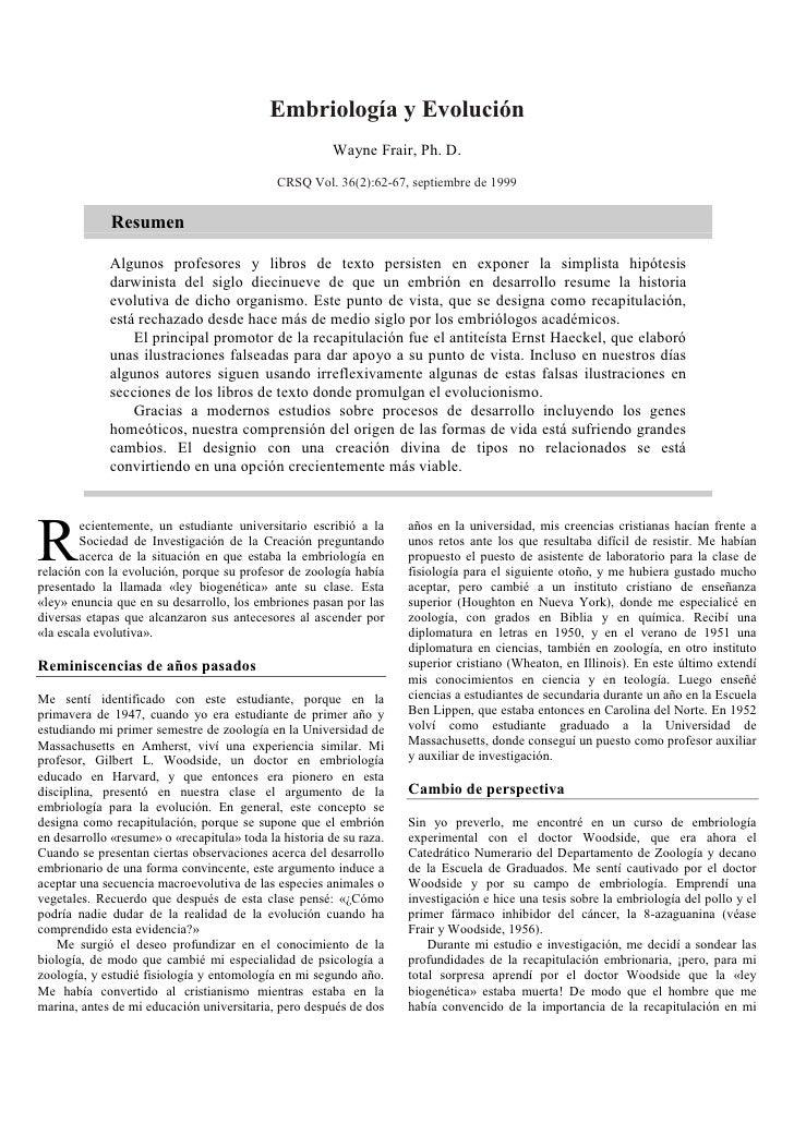 Embriología y Evolución                                                        Wayne Frair, Ph. D.                        ...