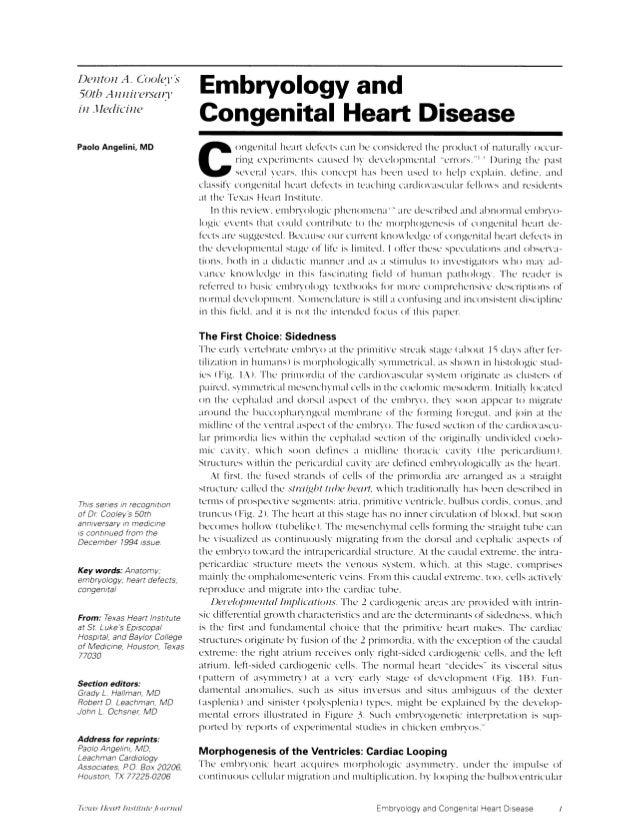 Embriologyandcardiacheartdisease