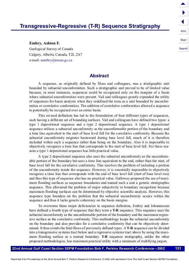 5 4 3  Transgressive-Regressive (T-R) Sequence Stratigraphy  Intro Start  Embry, Ashton F. Geological Survey of Canada  Se...