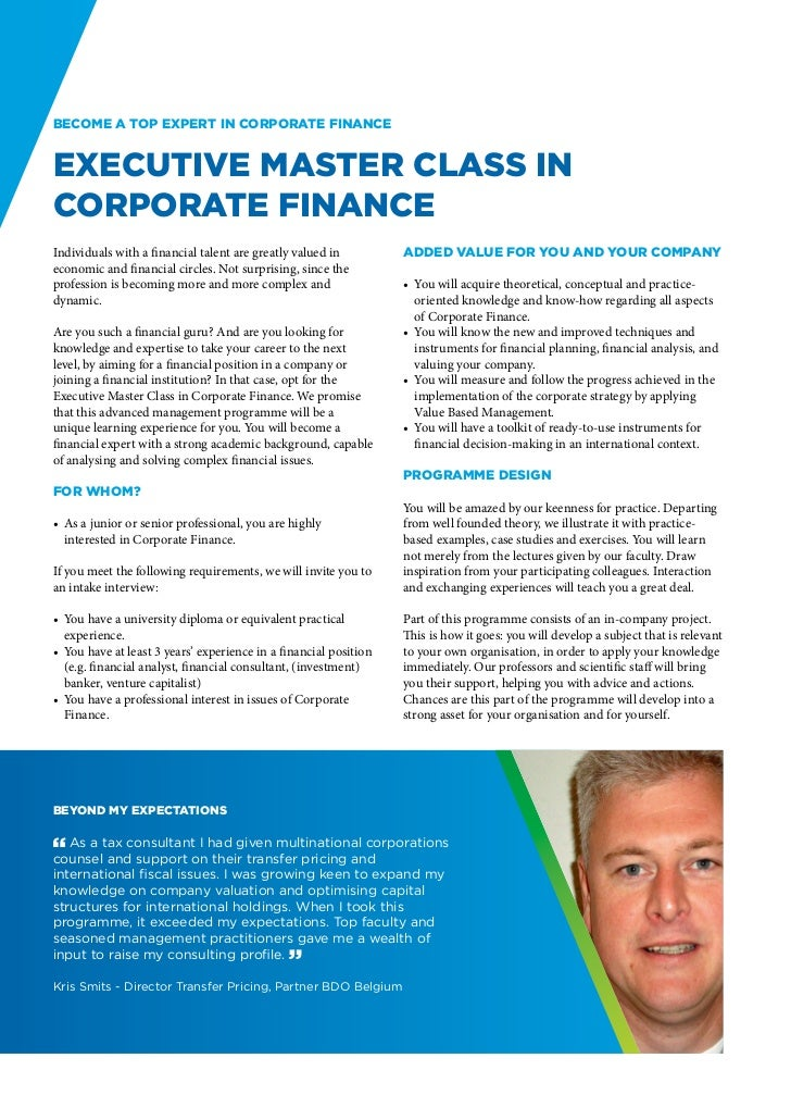 Become a top expert in Corporate FinanceExecutive Master Class inCorporate FinanceIndividuals with a financial talent are ...