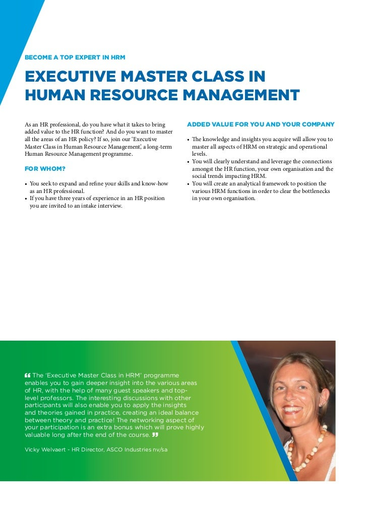 Become a top expert in HRMExecutive Master Class inHuman Resource ManagementAs an HR professional, do you have what it tak...