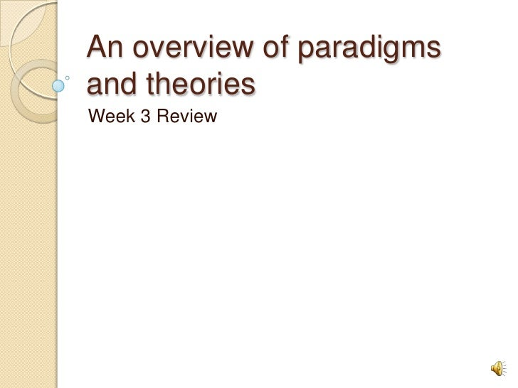 An overview of paradigms and theories<br />Week 3 Review<br />