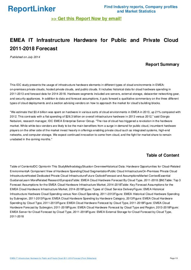 EMEA IT Infrastructure Hardware for Public and Private Cloud 2011-2018 Forecast