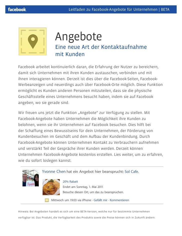 Leitfaden zu Facebook-Angebote für Unternehmen   BETA                            Angebote                            Eine ...