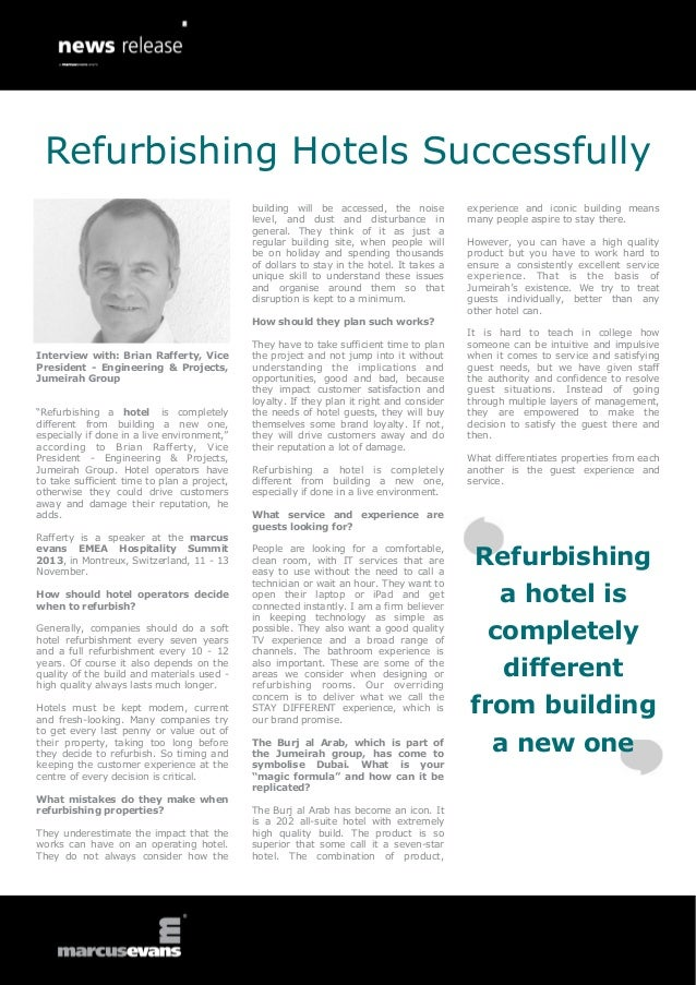 """Interview with: Brian Rafferty, Vice President - Engineering & Projects, Jumeirah Group """"Refurbishing a hotel is completel..."""