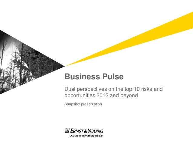 Business Pulse - Dual perspectives on the top 10 risks and opportunities 2013 and beyond