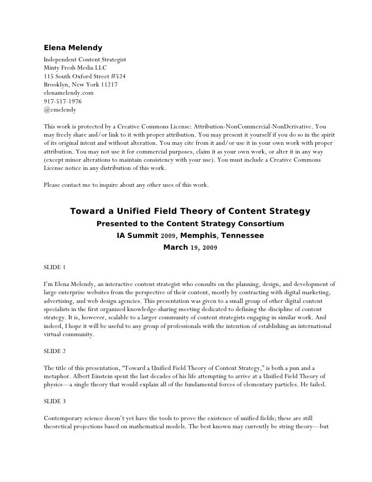 Toward a Unified Field Theory of Content Strategy (Presentation Notes)
