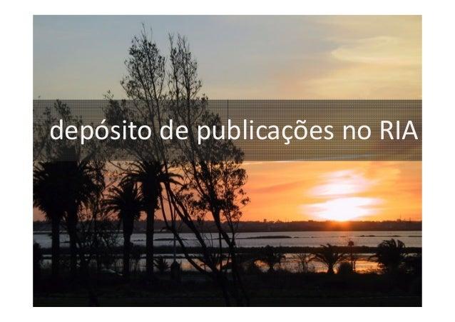 Depósitos de publicações no RIA