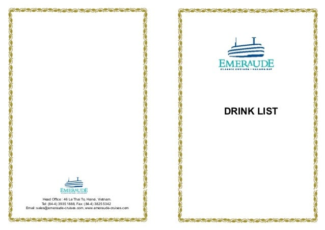 Emeraude Classic Cruises' Drink List applied from June 2013