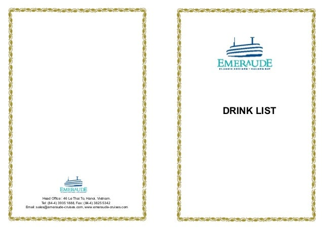 The Emeraude Classic Cruises' Drink List applied from October 2012