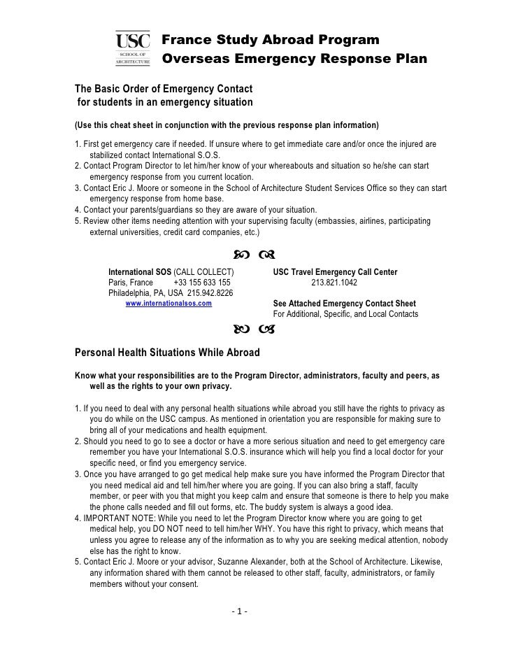 France Study Abroad Program                          Overseas Emergency Response Plan  The Basic Order of Emergency Contac...
