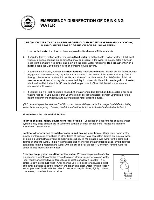 EMERGENCY DISINFECTION OF DRINKING WATER  USE ONLY WATER THAT HAS BEEN PROPERLY DISINFECTED FOR DRINKING, COOKING, MAKING ...