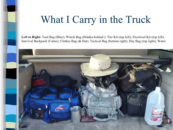 What to Carry in Your Vehicle                           If you are watching what is going on –                            ...