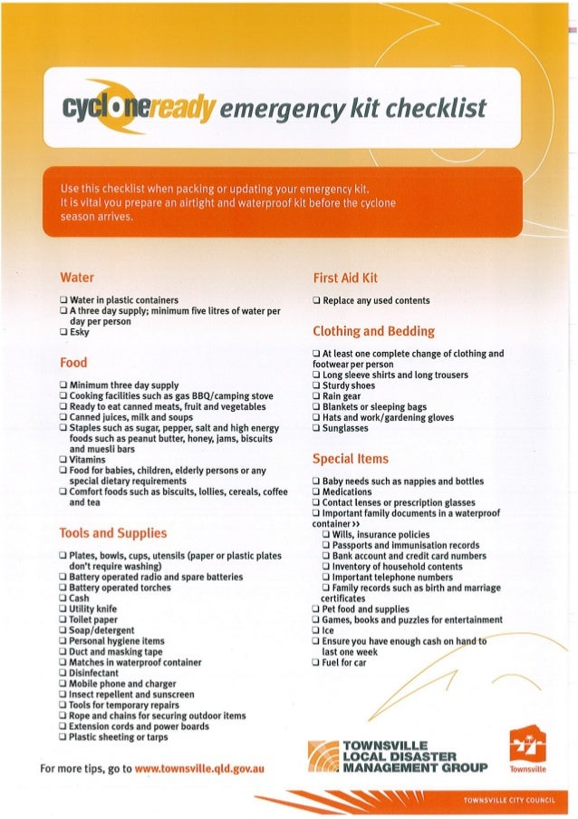 Emergency Kit Checklist Townsville City Council