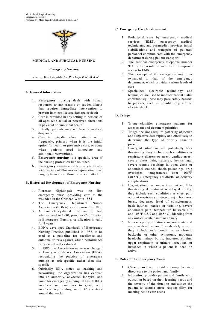 Medical and Surgical NursingEmergency NursingPrepared by: Mark Fredderick R. Abejo R.N, M.A.N                             ...