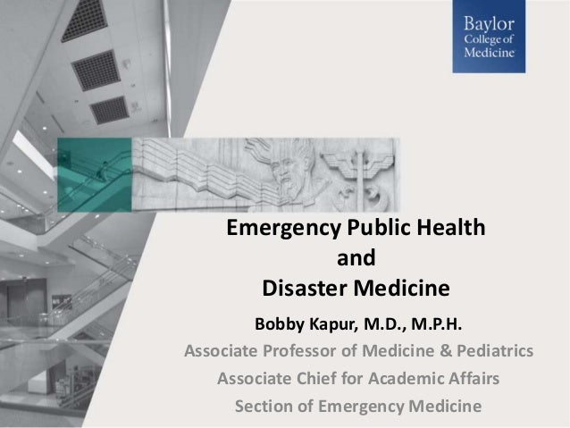 Emergency Public Health & Disaster Medicine