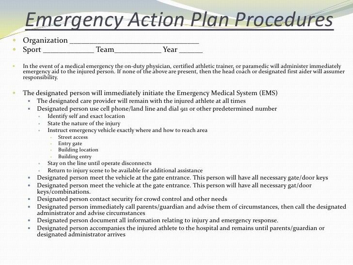 Emergency Action Plan Example For Athletics Alaskainpics