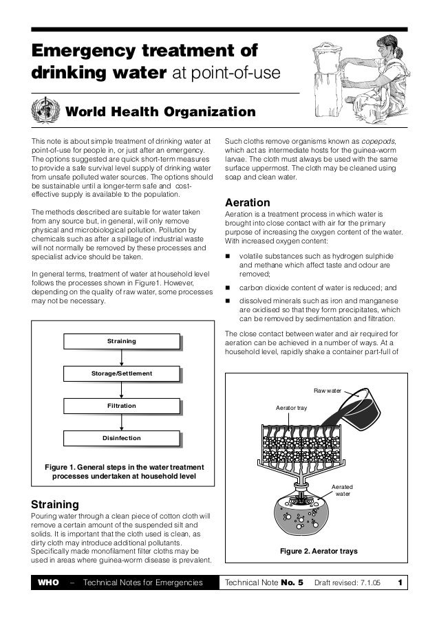 Emergency treatment ofdrinking water at point-of-use          World Health OrganizationThis note is about simple treatment...