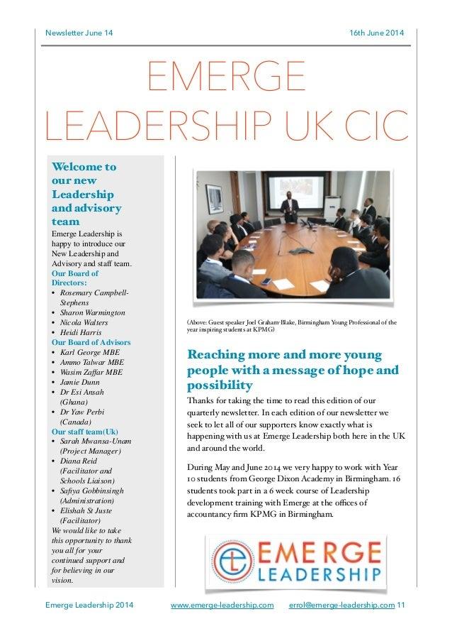 Emerge Leadership UK and Ghana newsletter June 2014