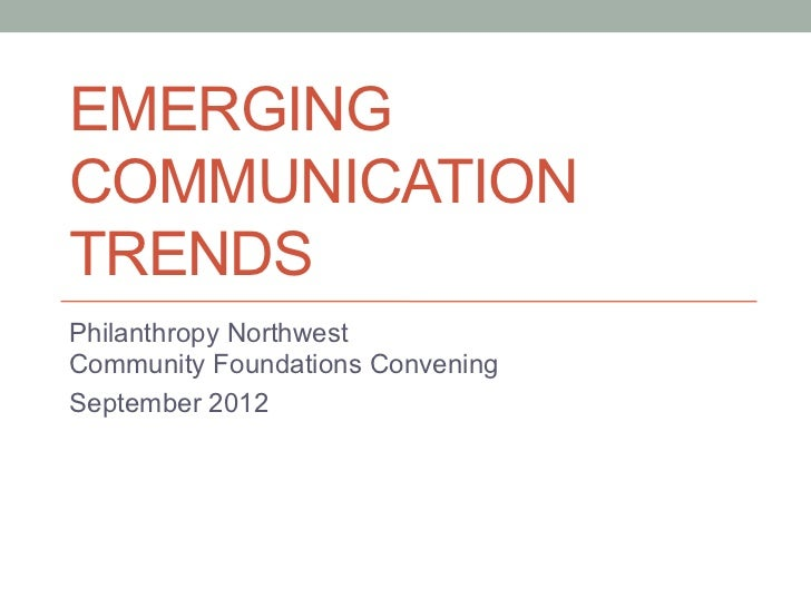 Emerging Communications for Community Foundations