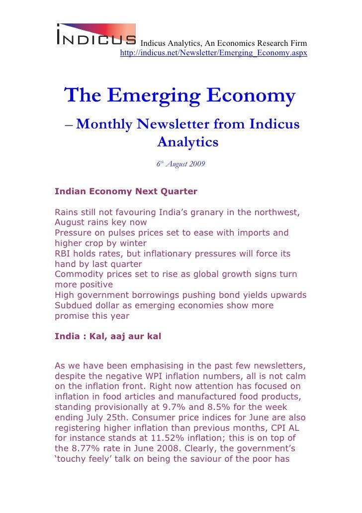 Emerging Economy August 2009 Indicus Analytics