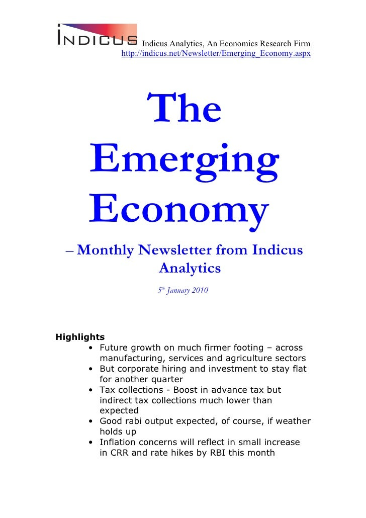 Indicus Analytics, An Economics Research Firm               http://indicus.net/Newsletter/Emerging_Economy.aspx           ...