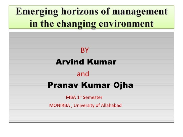 Emerging horizons of management in the changing environment
