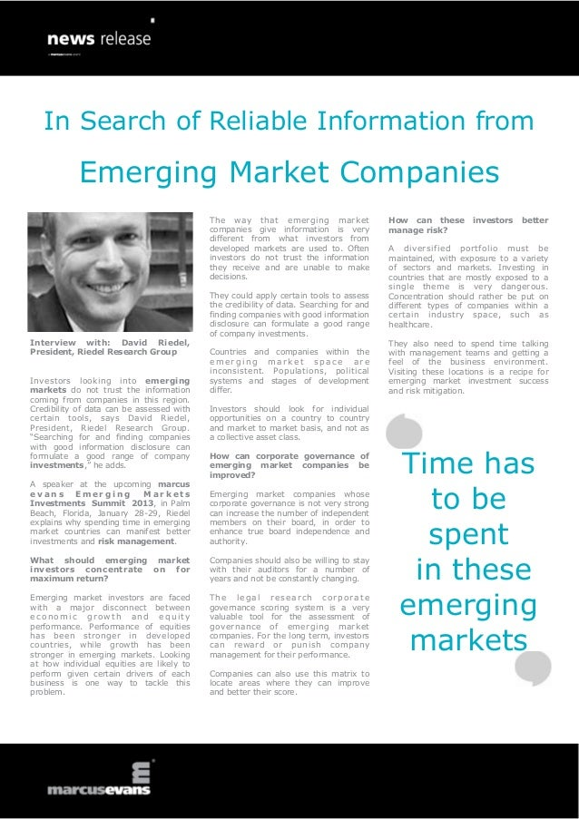 In Search of Reliable Information from Emerging Market Companies - Interview: David Riedel, Riedel Research Group - Emerging Markets Investments Summit