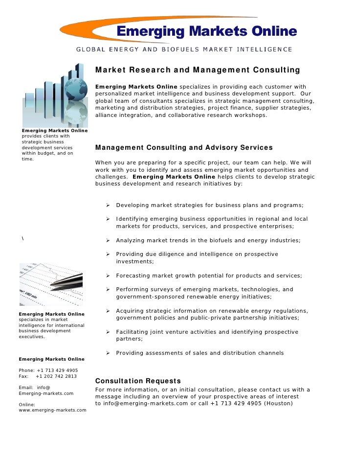 Introduction                                 Emerging Markets Online is a market research consulting firm, and is the     ...