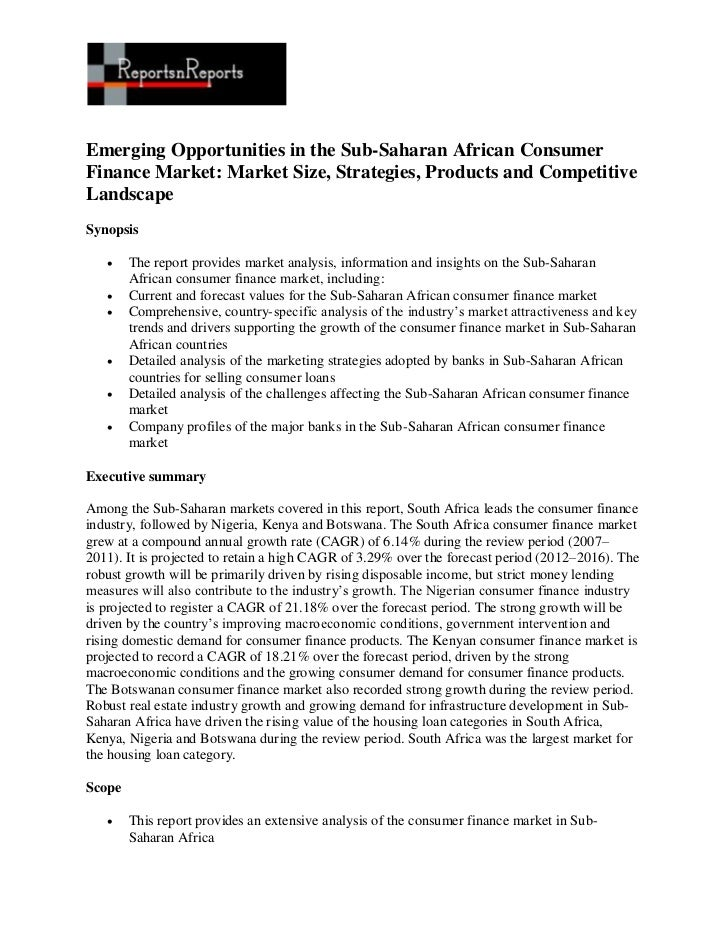 Emerging Opportunities in the Sub-Saharan African Consumer Finance Market: Market Size, Strategies, Products and Competitive Landscape