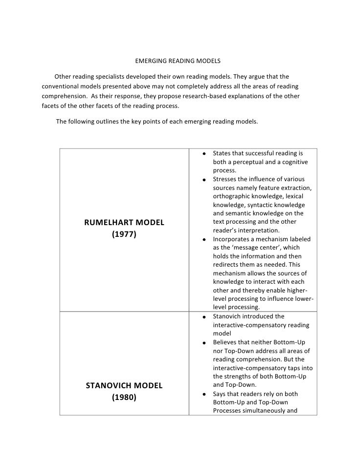 EMERGING READING MODELS<br />        Other reading specialists developed their own reading models. They argue that the con...